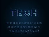 Tech vector font typeface unique design. For technology, circuits, engineering, digital , gaming, sci-fi and science subjects. - 200065217