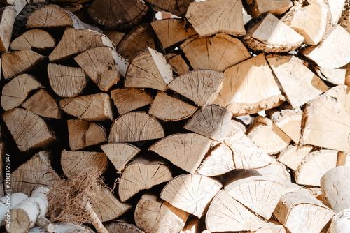 Foto op Aluminium Brandhout textuur seasoned firewood
