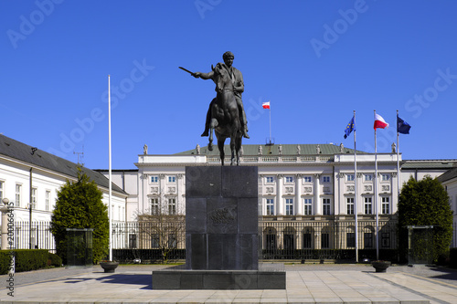 Warsaw, Poland - Historic quarter of Warsaw old town - president palace at Krakowskie Przedmiescie street with prince Jozef Poniatowski monument