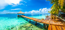 "Постер, картина, фотообои ""Maldives beach resort panoramic landscape"""