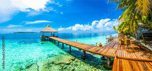 Maldives beach resort panoramic landscape