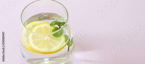 Glass of water, lemon and mint. Glass of pure water and fresh organic lemon and mint isolated on purple background. Detox and healthy food concept. - 200089417