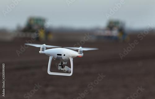 Fotobehang Trekker Drone flying above farmland