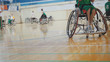 Disabled sportsmen plays wheelchair basketball