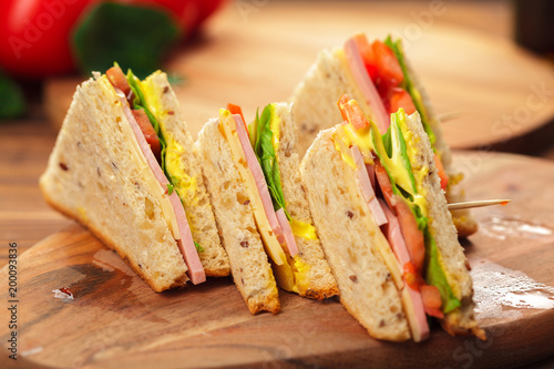 sandwich on a wooden table - 200093836