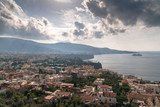View of the Sorrento coast. Meta beach, travel concept, space for text