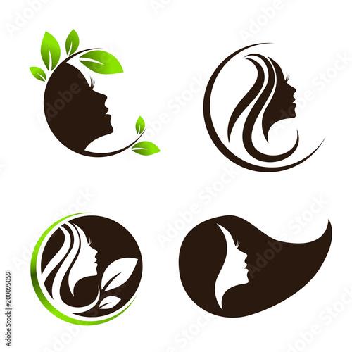 Woman Beauty Hair Spa Salon Logo Design Set