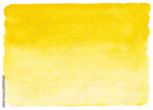 Yellow watercolor horizontal gradient fill with rough, uneven edges. Watercolour stains background. Abstract painted template with paper texture. - 200095667