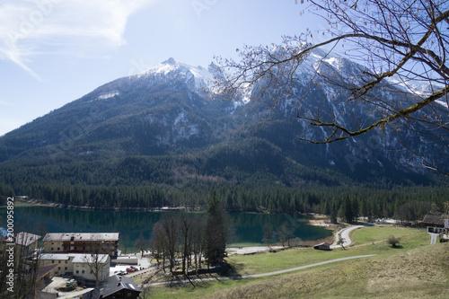 Fotobehang Blauwe hemel white mountain in the winter