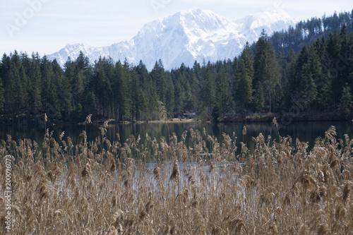 Foto op Aluminium Bergen white Mountains behind the lake