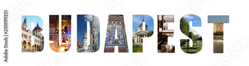 Fotobehang Boedapest Budapest banner collage