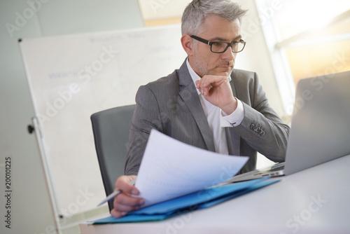 Fridge magnet Businessman in office working on laptop