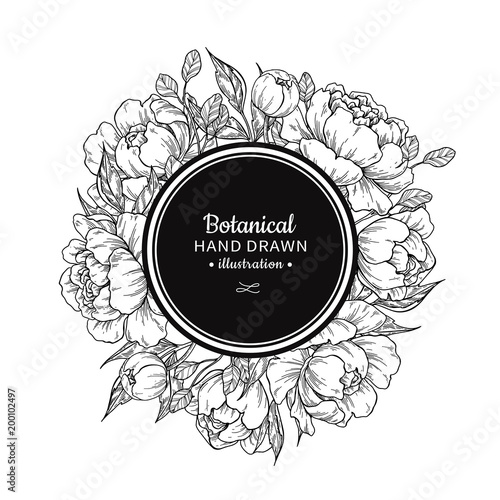 Flower vintage vector frame drawing. Peony, rose, leaves and ber
