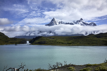 Turquoise Lake and Torres del Paine Mountain Peaks