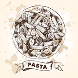 Penne pasta with cherry tomatoes and basil. Dish of Italian cuisine. Ink hand drawn Vector illustration. Top view. Food element for menu design. - 200111433