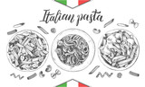 Spaghetti and penne pasta with cherry tomatoes and basil. Dish of Italian cuisine. Ink hand drawn set with brush calligraphy style lettering. Vector illustration. Top view. Food elements collection. - 200111625