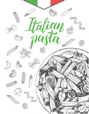 Penne pasta with cherry tomatoes and basil. Dish of Italian cuisine. Ink hand drawn background with brush calligraphy style lettering. Vector illustration. Top view. Food elements collection. - 200111672