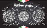 Spaghetti and penne pasta with cherry tomatoes and basil. Dish of Italian cuisine. Ink hand drawn set with brush calligraphy lettering. Vector illustration. Top view. Food elements. Chalkboard style. - 200111825