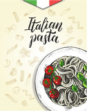 Spaghetti pasta with cherry tomatoes and basil. Dish of Italian cuisine. Ink hand drawn background with brush calligraphy style lettering. Vector illustration. Top view. Food elements collection. - 200111892