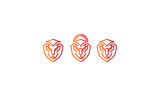 lion, head, padlock, lock, security, technology, emblem symbol icon vector logo
