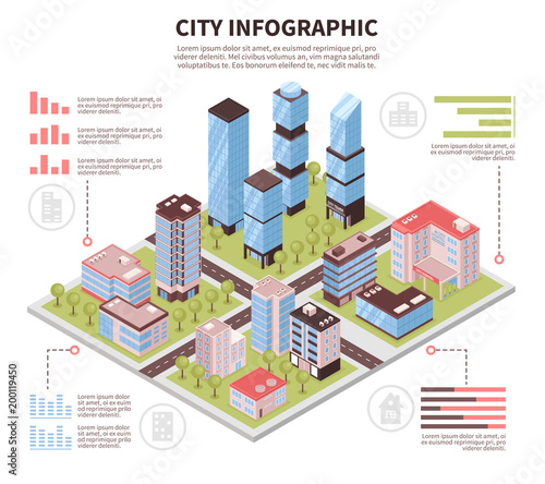 City Infographic Poster Isometric