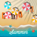 Summer background with girls tanning in the sun and umbrellas on the beach, vector illustration.