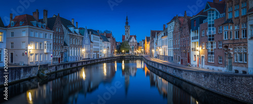 Foto op Canvas Brugge Brugge city panorama at night, Flanders, Belgium