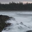 Wave splashing at coast, Pettinger Point, Cox Bay, Pacific Rim National Park Reserve, Tofino, British Columbia, Canada