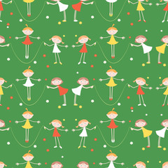 Little girls jump with a skipping rope © Amili