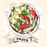 Penne pasta with cherry tomatoes and basil. Dish of Italian cuisine. Ink hand drawn Vector illustration. Top view. Food element for menu design. - 200126676
