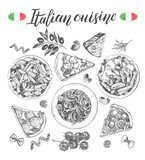 Pasta dishes, pieces of pizza, ingredients of Italian cuisine. Set for the concept of menu design. Ink hand drawn food elements collection with brush calligraphy style lettering. Vector illustration.  - 200126843
