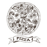 Pizza with pepperoni, olives and champignons. Italian cuisine. Ink hand drawn Vector illustration. Top view. Food element for menu design. - 200127048