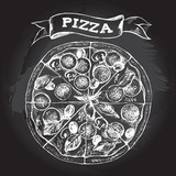 Pizza with pepperoni, olives and champignons. Italian cuisine. Ink hand drawn Vector illustration. Top view. Food element for menu design. - 200127082