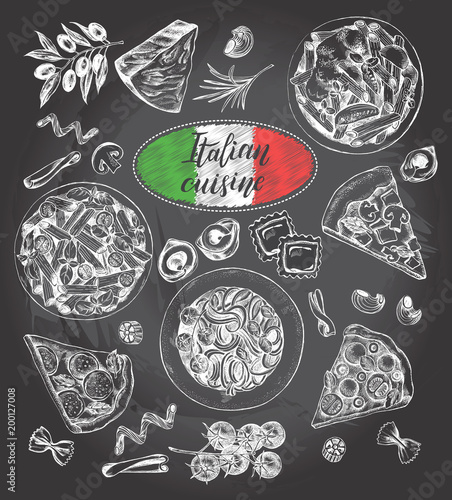 Pasta dishes, pieces of pizza, ingredients of Italian cuisine. Set for the concept of menu design. Ink hand drawn food elements collection with brush calligraphy style lettering. Vector illustration.  - 200127008