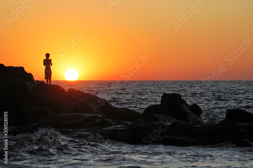 Plexiglas Bruin Sonnenuntergang, Strand Las Penitas bei Poneloya, Leon, Pazifik, Nicaragua, Zentralamerika, Mittelamerika