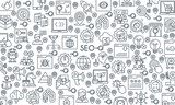 Search Engine Optimisation and Development banner. Modern icons on theme business, analysis, internet, organization, startup and web. Thin line design icons collection. Vector illustration - 200130691