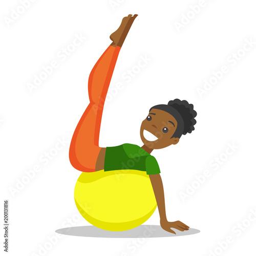 Młoda afroamerykańska kobieta ćwiczy z dysponowaną piłką. Sportsmenka podnoszenia nogi na fitball. Pojęcie zdrowego stylu życia i sportu. Ilustracja kreskówka wektor na białym tle. Układ kwadratowy