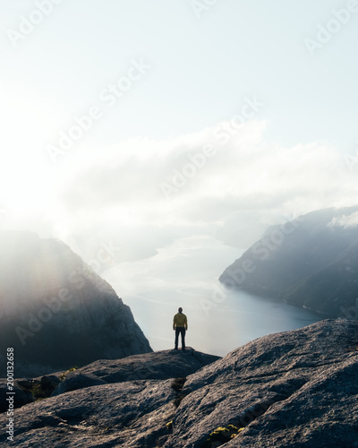 Misty morning on Preikestolen (pulpit-rock) - famous tourist attraction in the municipality of Forsand in Rogaland county, Norway