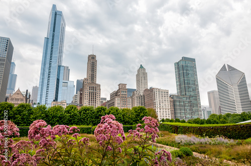 View of Chicago cityscape with skyscrapers from Millenium Park in cloudy day, Illinois, USA - 200145292