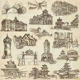 Architecture around the World - An hand drawn pack. Freehand collection on old paper. - 200145853