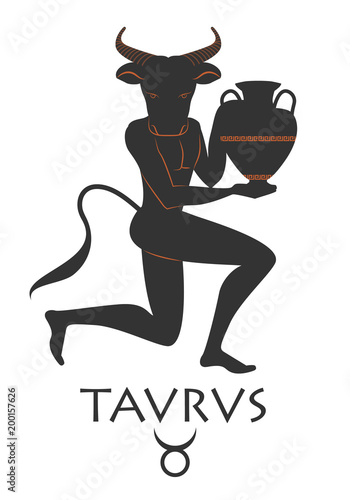 Zodiac in the style of Ancient Greece. Taurus. Black figure of man with head of bull, horns and tail, knee in earth carrying an amphora. Isolated on white background.