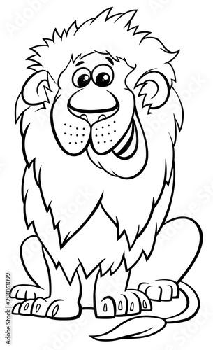 lion animal character cartoon coloring book