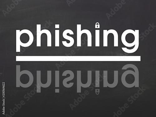 Mot Phishing sur fond noir
