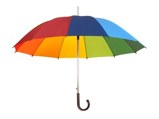 Rainbow umbrella on white