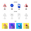 Different types of road signs cartoon,outline,flat icons in set collection for design. Warning and prohibition signs vector symbol stock web illustration.