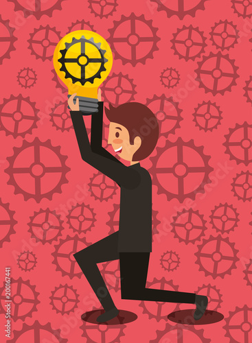 business man kneeling holding bulb with gear creativity motion work vector illustration