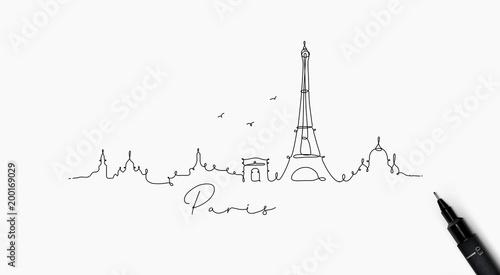 Pen line silhouette paris