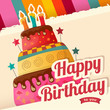 Birthday cake vector card with cake