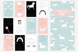 Calendar 2019 with cute unicorn and magical objects. Vector hand drawn illustration. - 200171822
