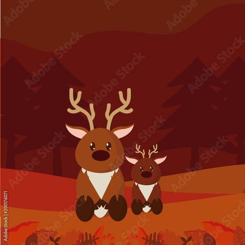 Foto op Plexiglas Bruin Deers cute animals cartoons